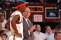 Syracuse Head Coach Jim Boeheim and Hakim Warrick during the Coaches vs Cancer Classic held at Madison Square Garden in New York, NY.  (Mandatory Credit: Delane B. Rouse/ContrastPhotography.com)