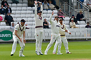 Craig Overton, Matt Renshaw, Marcus Trescothick and James Hildreth of Somerset in the slips appealing for a wicket during the Specsavers County Champ Div 1 match between Somerset County Cricket Club and Worcestershire County Cricket Club at the Cooper Associates County Ground, Taunton, United Kingdom on 22 April 2018. Picture by Graham Hunt.