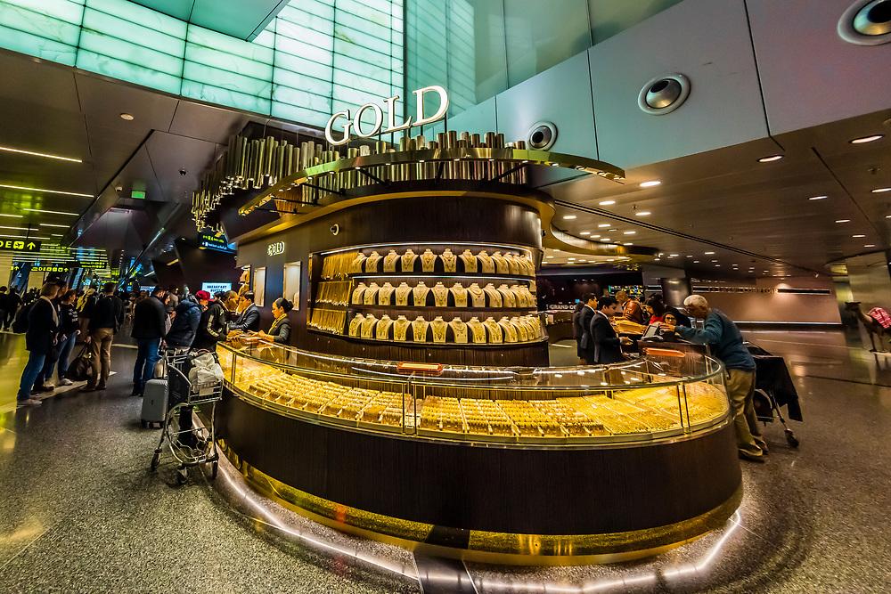 Au Gold Boutique at Qatar Duty Free Shops,Hamad International Airport, Doha, Qatar.