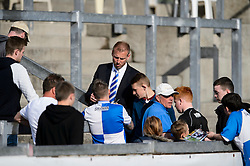 Bristol Rovers supporters get player autographs after a 0-1 loss in the match to confirm their sides relegation from League 2 into the Conference division - Photo mandatory by-line: Rogan Thomson/JMP - 07966 386802 - 03/05/2014 - SPORT - FOOTBALL - Memorial Stadium, Bristol - Bristol Rovers v Mansfield Town - Sky Bet League Two. (Note: Mansfield are wearing a Rovers spare kit having forgotten their own).