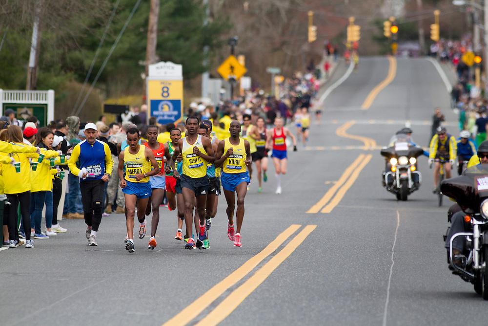 2013 Boston Marathon: lead pack of runners at mile 8 led by group of Ethiopians Merga, Geneti