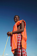 Africa. Northern Kenya.  Samburu National Park..Samburu man in traditional red..CD0011