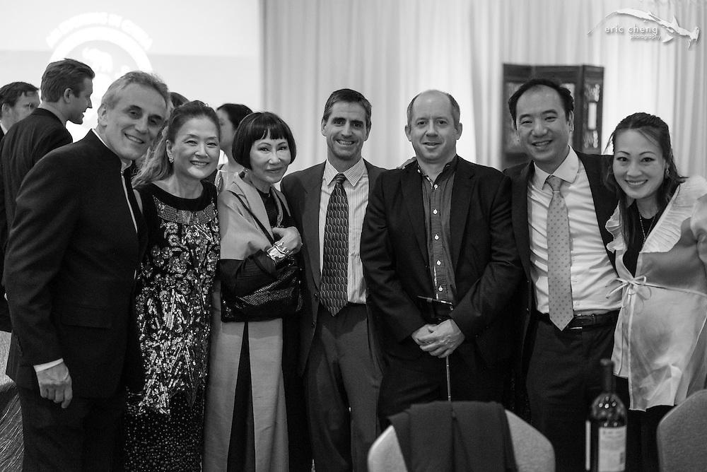 Lou DeMattei, Olivia (?), Amy Tan, Shawn Heinrichs, Duncan Clark, Yat-Pang Au; WildAid Gala, November 15, 2014