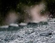Very heavy Summer rain drops on a tin roof.