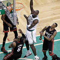 01 June 2012: Boston Celtics power forward Kevin Garnett (5) goes for the skyhook over Miami Heat small forward LeBron James (6) during the first quarter of Game 3 of the Eastern Conference Finals playoff series, Heat vs Celtics, at the TD Banknorth Garden, Boston, Massachusetts, USA.