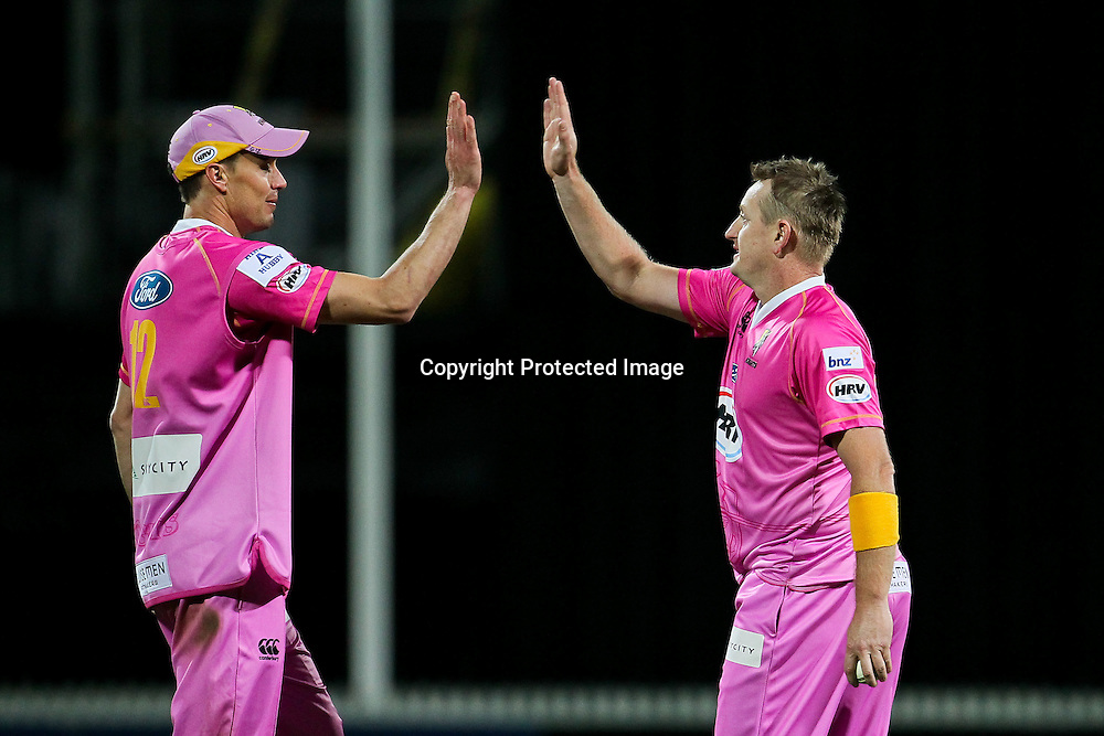 Northern Knight's Graeme Aldridge (left) and Northern Knight's captain Scott Styris (right) celebrate the run out of Canterbury Wizard's George Worker (unseen) during the HRV Cup - Northern Knights v Canterbury Wizards, Seddon Park, Hamilton.  30 November 2012.  Photo:  Bruce Lim / photosport.co.nz