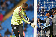 Manchester City goalkeeper Ederson (31) greets the ballboys before  during the Champions League match between Manchester City and Dinamo Zagreb at the Etihad Stadium, Manchester, England on 1 October 2019.