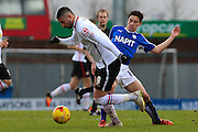 Chesterfield FC midfielder Connor Dimaio challenges Crewe Alexandra forward Marcus Haber for the ball during the Sky Bet League 1 match between Chesterfield and Crewe Alexandra at the Proact stadium, Chesterfield, England on 20 February 2016. Photo by Aaron Lupton.