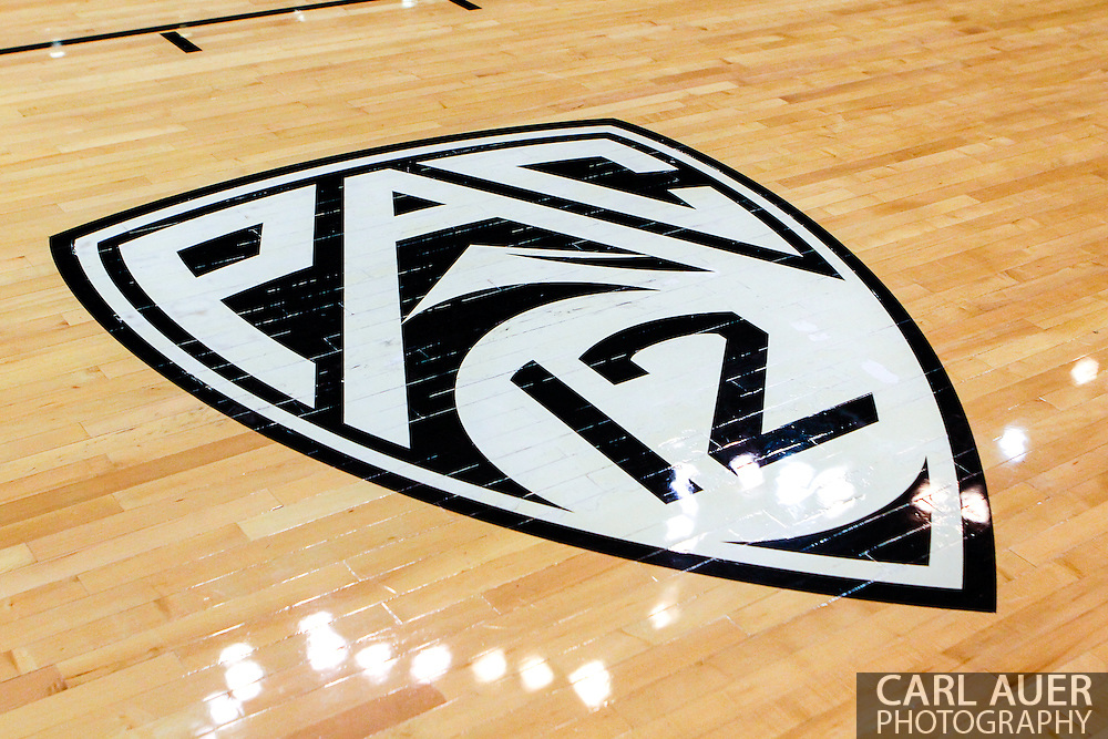 November 16th, 2013:  The Pac-12 logo on the floor at the Coors Events Center in Boulder prior to tip off in the NCAA Basketball game between the Jackson State Tigers and the University of Colorado Buffaloes in Boulder, Colorado