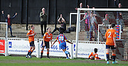 Emma Whitter celebrating the second of her three goals during the FA Women's South East Divison One match between Crystal Palace LFC and Luton Ladies at the Crystal Palace National Sports Centre, Croydon, United Kingdom on 5 April 2015. Photo by Michael Hulf.