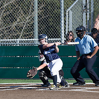 (Photograph by Bill Gerth/ for SVCN/ 3/14/17) Branham #5 Sierra Vaughan batting vs Monta Vista in a pre season girls varsity softball game at Monta Vista High School, Cupertino CA on 3/14/17. (Monta Vista 7 Branham 3)