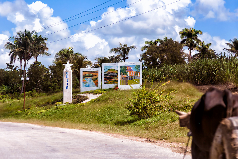Town entry sign in Cueto, Holguin, Cuba.