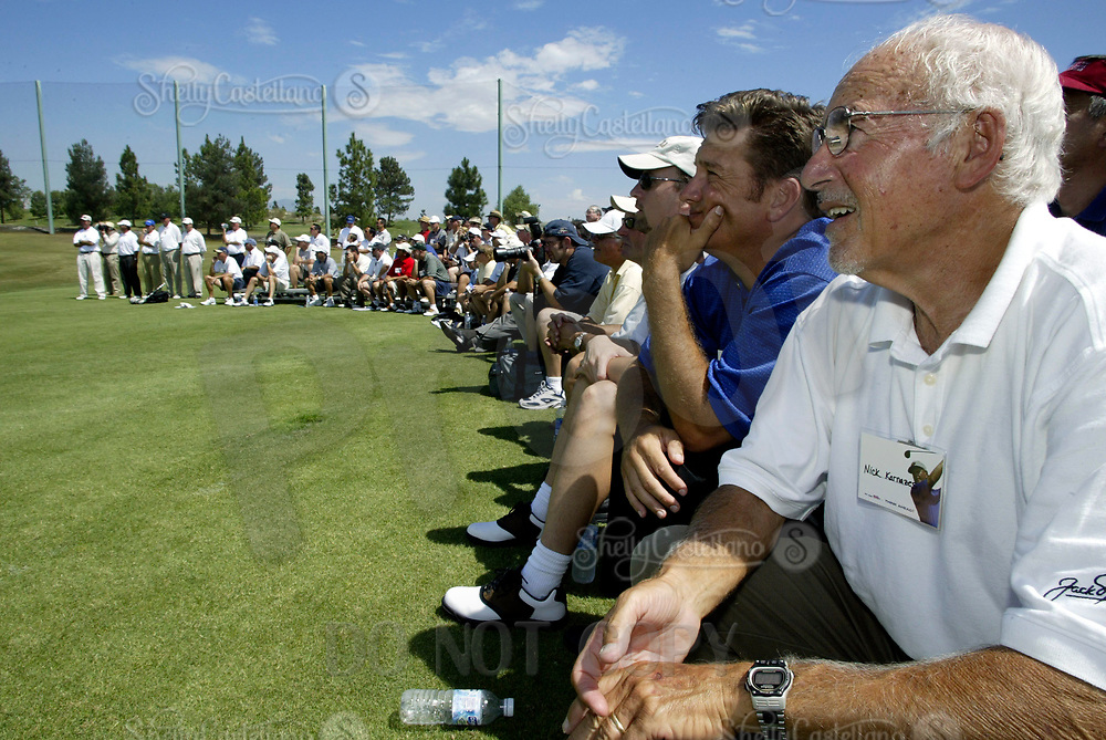 Sep 08, 2004; Aliso Viejo, CA, USA; Participants listen to Legendary golfer JACK NICKLAUS during golf lessons @ The Jack Nicklaus Heart & Stroke Challenge Gold Tournament for participants aged 55 and older.  Held at a new golf course designed by his son at the Aliso Viejo Country Club located in Southern California.  Men & Women aged 55 and older are at an increased risk of suffering cardiovascular related deaths.  Nicklaus suffers from hypertension (high blood pressure) and is at high risk for a heart attack or stroke.  Mandatory Credit: Photo by Shelly Castellano/ZUMA Press. (©) Copyright 2004 by Shelly Castellano