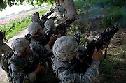 The grenadiers of the 82nd Airborne's 1/508, Alpha Company, Third Platoon fire at the enemy in Sangin, Helmand province, Afghanistan on Thursday, April 5, 2007. The firefight, less than 24 hours into the air assault on Sangin raged for over five hours.