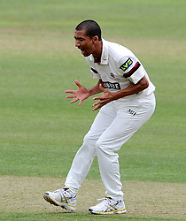 Somerset's Alfonso Thomas reacts after a dropped catch of batsman Sussex's Ashar Zaidi. - Photo mandatory by-line: Harry Trump/JMP - Mobile: 07966 386802 - 06/07/15 - SPORT - CRICKET - LVCC - County Championship Division One - Somerset v Sussex- Day Two - The County Ground, Taunton, England.