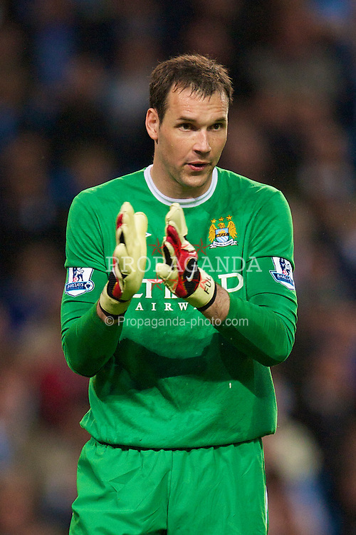 MANCHESTER, ENGLAND - Wednesday, May 5, 2010: Manchester City's goalkeeper Marton Fulop in action against Tottenham Hotspur during the Premiership match at City of Manchester Stadium. (Photo by David Rawcliffe/Propaganda)