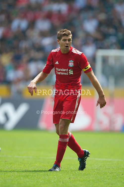 MONCHENGLADBACH, GERMANY - Sunday, August 1, 2010: Liverpool's captain Steven Gerrard MBE in action against Borussia Monchengladbach during a preseason friendly match at Borussia-Park. (Pic by David Rawcliffe/Propaganda)