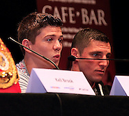 Picture by Richard Gould/Focus Images Ltd +44 7855 403186<br /> 22/06/2013<br /> Luke Campbell (left) speaks about his fight pictured during a press conference at Hull City Hall.