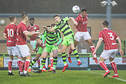 Forest Green Rovers Olly Mehew(29) goes to head the ball during the Gloucestershire Senior Cup match between Forest Green Rovers and U23 Bristol City at the New Lawn, Forest Green, United Kingdom on 9 April 2018. Picture by Shane Healey.