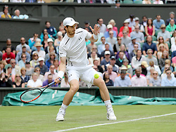 WIMBLEDON - UK - 28th June 2016: The Wimbledon Tennis Championships Day-2  at the All England Lawn Tennis Club, Wimbledon. S.E. London.<br /> <br /> Pic shows. Andy Murray (pictured) (GB) playing Liam Brody (GB)<br /> Photo by Ian Jones