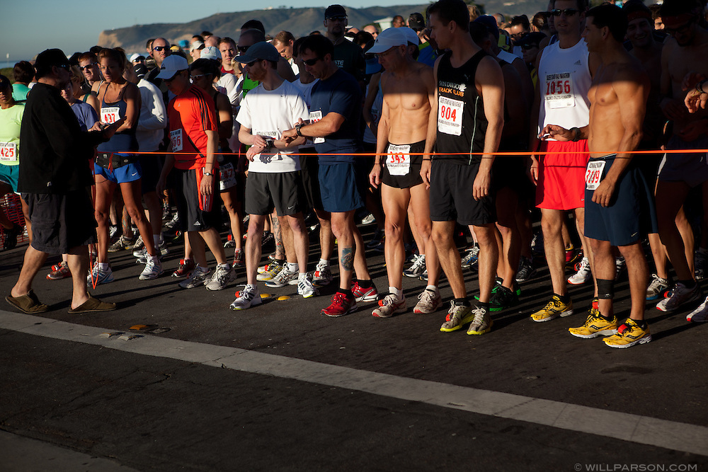 Runners wait for the start of the Silver Strand Half Marathon in Coronado, CA, Nov. 14, 2010.