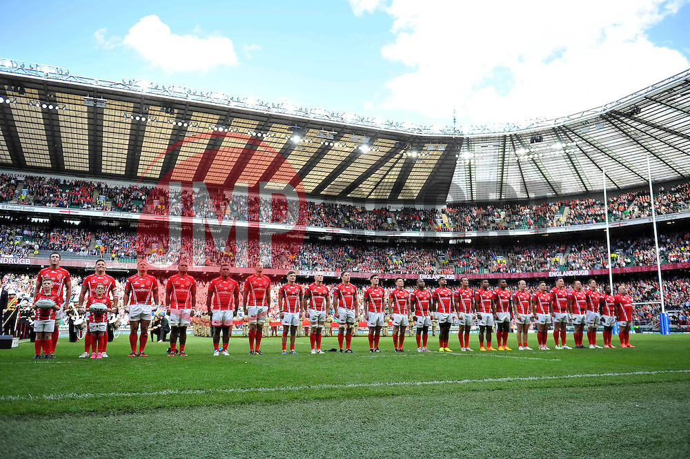 The Army team line up for the national anthem - Photo mandatory by-line: Patrick Khachfe/JMP - Mobile: 07966 386802 09/05/2015 - SPORT - RUGBY UNION - London - Twickenham Stadium - Army v Royal Navy - Babcock Trophy