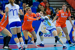 13-12-2019 JAP: Semi Final Netherlands - Russia, Kumamoto<br /> The Netherlands beat Russia in the semifinals 33-22 and qualify for the final on Sunday in Park Dome at 24th IHF Women's Handball World Championship / Jessy Kramer #5 of Netherlands, Anna Vyakhireva #13 of Russia
