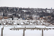 A snowy glimpse of Hancock, Michigan, from a vantage point in Houghton.