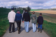ADFTHD Back view of three generations extended family holding hands on country walk