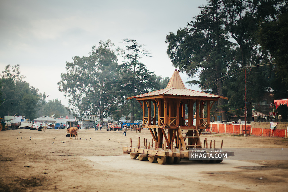 The cart of Raghunath stationed at Dhalpur Ground, ready to be decorated. This cart will be pulled few meters away by the devotes to a lower ground later this festival day.  Kullu Dussehra is the Dussehra festival observed in the month of October in Himachal Pradesh state in northern India. It is celebrated in the Dhalpur maidan in the Kullu valley. Dussehra at Kullu commences on the tenth day of the rising moon, i.e. on 'Vijay Dashmi' day itself and continues for seven days. Its history dates back to the 17th century when local King Jagat Singh installed an idol of Raghunath on his throne as a mark of penance. After this, god Raghunath was declared as the ruling deity of the Valley.