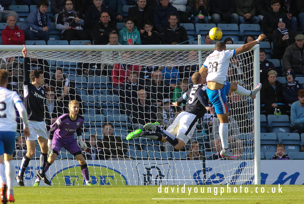 Kilmarnock&rsquo;s Josh Magennis heads the opener - Dundee v Kilmarnock, Ladbrokes Premiership at Dens Park <br /> <br />  - &copy; David Young - www.davidyoungphoto.co.uk - email: davidyoungphoto@gmail.com