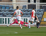 Dundee keeper Scott Bain pulls off a superb save to deny Hamilton's Mikel Antoine-Curier - Dundee v Hamilton, SPFL Premiership at Dens Park<br /> <br />  - &copy; David Young - www.davidyoungphoto.co.uk - email: davidyoungphoto@gmail.com