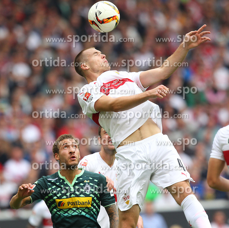 26.09.2015, Mercedes Benz Arena, Stuttgart, GER, 1. FBL, VfB Stuttgart vs Borussia Moenchengladbach, 7. Runde, im Bild Toni Sunjic ( VfB Stuttgart ) klaert den Ball per Kopf // during the German Bundesliga 7th round match between VfB Stuttgart and Borussia Moenchengladbach at the Mercedes Benz Arena in Stuttgart, Germany on 2015/09/26. EXPA Pictures &copy; 2015, PhotoCredit: EXPA/ Eibner-Pressefoto/ Langer<br /> <br /> *****ATTENTION - OUT of GER*****