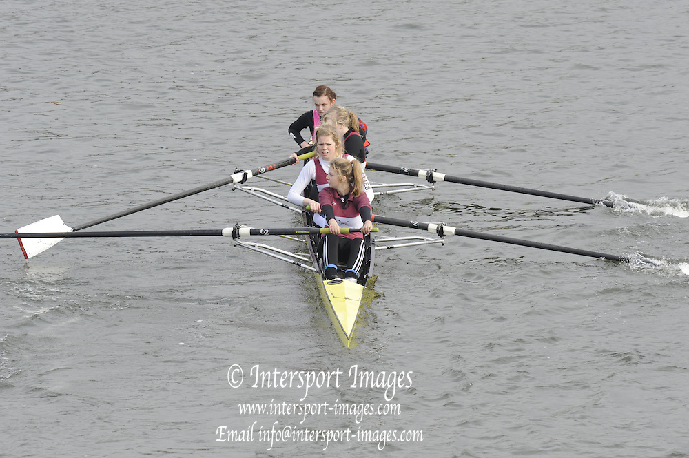 Chiswick. London. JW4+George Watson College, approach the start line as they compete in the 2011 Schools Head of the River Race, Mortlake to Putney, over the  Championship Course.Taken from Chiswick Bridge.  Thursday  17/03/2011 [Mandatory Credit, Peter Spurrier/Intersport-images]