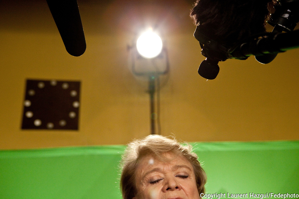 11022012. Roubaix. Eva Joly 2012. Campagne présidentielle. Conférence de presse en amont du premier grand meeting de campagne et de la présentation du pacte économique et social.