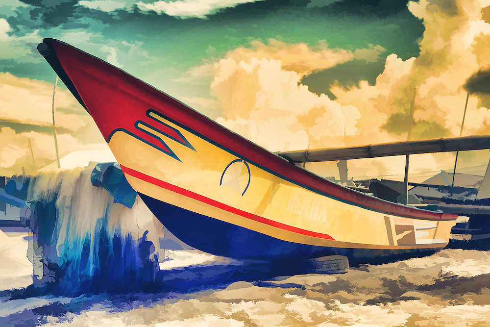 Digital Painting of Fishing boat on shore