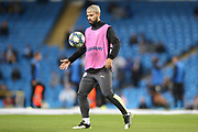 Manchester City forward Sergio Aguero (10) warming up during the Champions League match between Manchester City and Atalanta at the Etihad Stadium, Manchester, England on 22 October 2019.