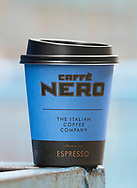 London, England - June 09, 2017: Cup of Caffe Nero Coffee to Take Away, Caffe Nero was founded in 1997 by Gerry Ford in London.