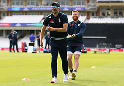 England's Mark Wood (left) and Jonny Bairstow during a training session at The Oval, London.