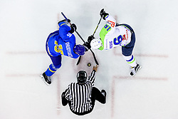 Maxim Khudyakov of Kazahstan and Ales Music of Slovenia during friendly Ice Hockey match between National Teams of Slovenia and Kazahstan, on April 15, 2017 in Hala Tivoli, Ljubljana, Slovenia. Photo by Morgan Kristan / Sportida