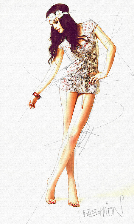 Freehand digital fashion design drawing by adrian dewey on adobe photoshop using wacom tablet