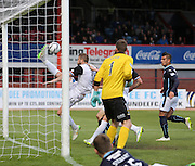 Inverness Caledonian Thistle&rsquo;s Daniel Devine clears Greg Stewart's shot off the line - Dundee v Inverness Caledonian Thistle - SPFL Premiership at Dens Park <br /> <br />  - &copy; David Young - www.davidyoungphoto.co.uk - email: davidyoungphoto@gmail.com