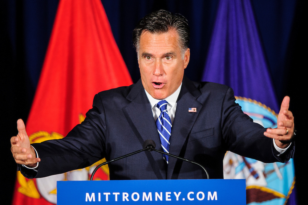"Republican Presidential nominee MITT ROMNEY speaks to veterans at an event billed as ""Springfield Veterans for Romney at American Legion Post 176 in Springfield, Virginia on Thursday."