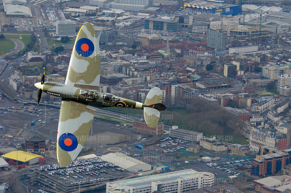 ,  Daily Telegraph,<br /> 20160305       Copyright image 2016&copy;<br /> Matt Jones, Spitfire Pilot makes a memorial flight from Southampton Airport, which saw the first flight of a Spitfire 5th March 1936. He piloted a TR9 Spitfire<br /> , <br /> London<br /> For photographic enquiries please call Anthony Upton 07973 830 517 or email info@anthonyupton.com <br /> This image is copyright Anthony Upton 2016&copy;.<br /> This image has been supplied by Anthony Upton and must be credited Anthony Upton. The author is asserting his full Moral rights in relation to the publication of this image. All rights reserved. Rights for onward transmission of any image or file is not granted or implied. Changing or deleting Copyright information is illegal as specified in the Copyright, Design and Patents Act 1988. If you are in any way unsure of your right to publish this image please contact +447973 830 517 or email: info@anthonyupton.com