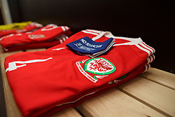 MERTHYR, WALES - Thursday, February 16, 2017: The shirt of Wales' captain Bronwen Thomas in the home dressing room ahead of the Women's Under-17's International Friendly match against Hungary at Penydarren Park. (Pic by Laura Malkin/Propaganda)