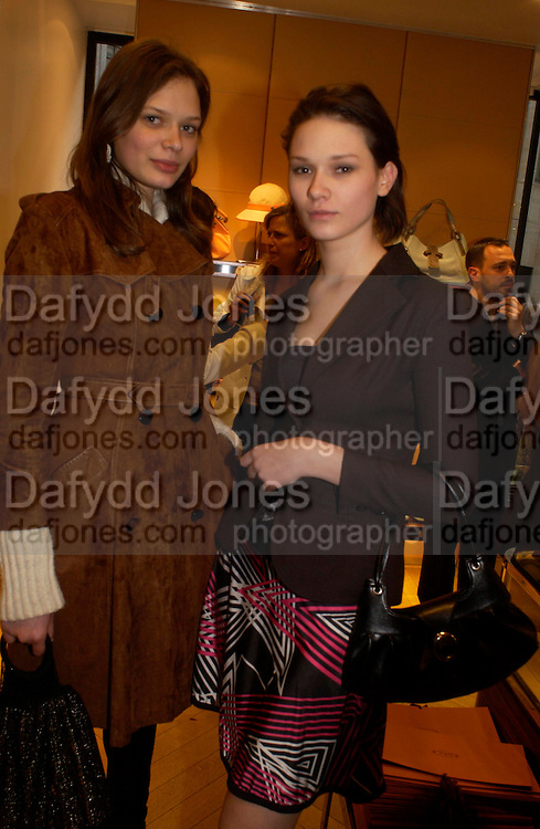 Valeria and Valentina. Tod's hosts Book signing with Dante Ferretti celebrating the launch of 'Ferretti,- The art of production design' by Dante Ferretti. tod's, Old Bond St. 19 April 2005.  ONE TIME USE ONLY - DO NOT ARCHIVE  © Copyright Photograph by Dafydd Jones 66 Stockwell Park Rd. London SW9 0DA Tel 020 7733 0108 www.dafjones.com