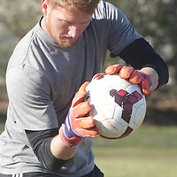 Bryan Byars makes a save Sunday February 8, 2015 during tryouts for the Wilmington Hammerheads F.C. (Jason A. Frizzelle)