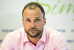 "Uros Zorman during press conference of handball event named ""Rokometna simfonija"" in honour of retirement of best Slovenian handball players Uros Zorman and Luka Zvizej, on April 14, 2019, in Arena Zlatorog, Celje, Slovenia. Photo by Vid Ponikvar / Sportida"