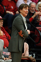 January 20, 2011; Stanford, CA, USA;  Stanford Cardinal head coach Tara VanDerveer on the sidelines against the UCLA Bruins during the first half at Maples Pavilion.  Stanford defeated UCLA 64-38.