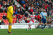 Doncaster Rovers Midfielder Gary McSheffrey (7) shoots wide during the EFL Sky Bet League 2 match between Doncaster Rovers and Blackpool at the Keepmoat Stadium, Doncaster, England on 17 April 2017. Photo by Craig Zadoroznyj.